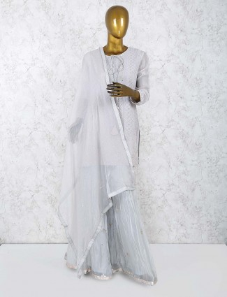 Grey hue sharara suit in georgette fabric