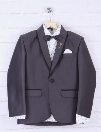 Grey hue solid boys blazer