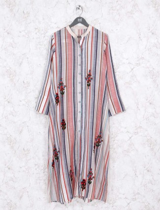Grey hue stripe cotton kurti