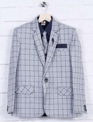 Grey hued checks pattern coat suit