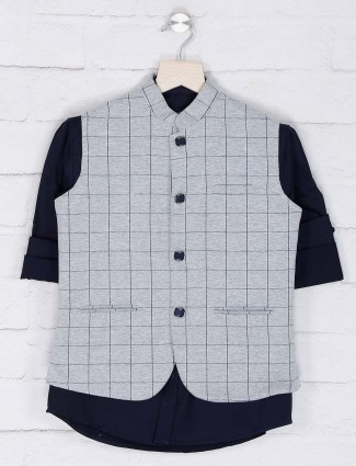 Grey hued cotton fabric checks waistcoat