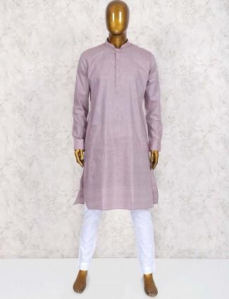 Grey hued cotton kurta suit for mens