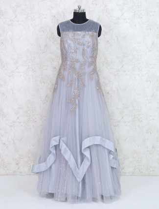 Grey hued net fabric designer gown