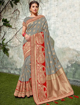 Grey hued semi silk fabric saree