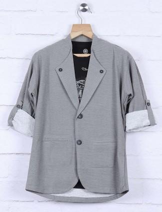 Grey hued solid cotton blazer