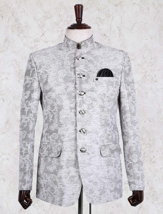 Grey hued solid jodhpuri blazer