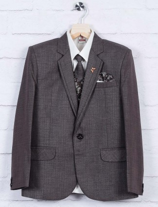 Grey hued solid terry rayon coat suit
