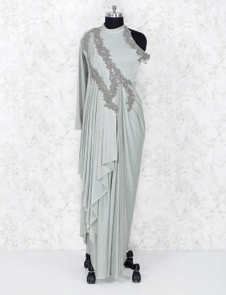 Grey indo western designer gown for party