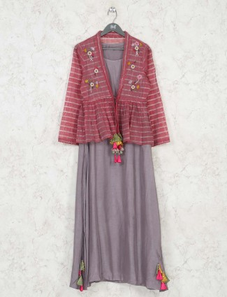 Grey jacket style cotton kurti in festive