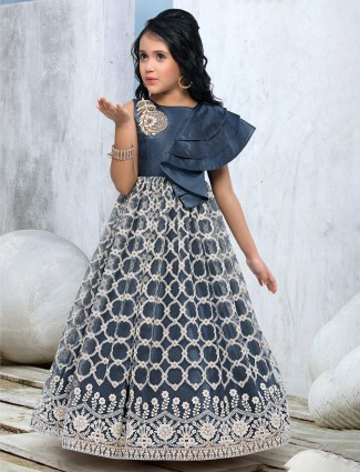 Grey kids designer gown for girls