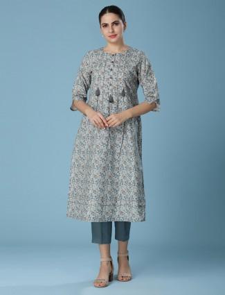 Grey linen casual printed kurti