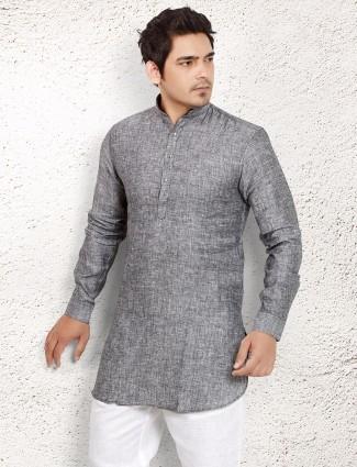 Grey linen plain short pathani