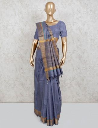 Grey linen saree in matching pallu