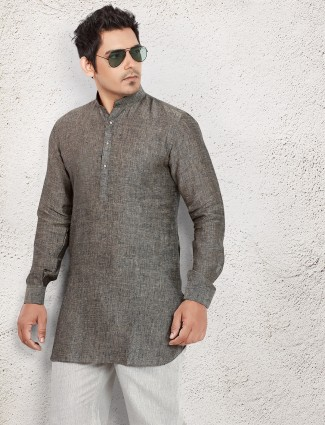 Grey linen solid pathani suit
