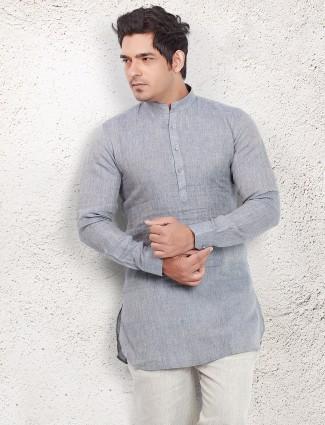 Grey linen solid short pathani
