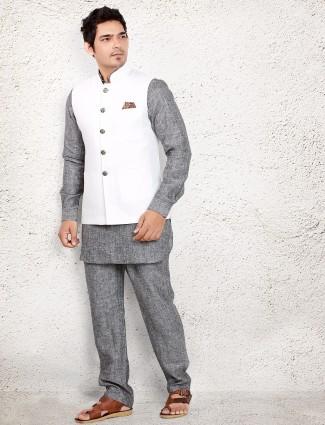 Grey linen waistcoat set