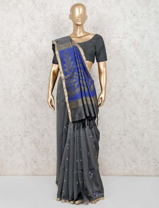 Grey lovely pure silk saree