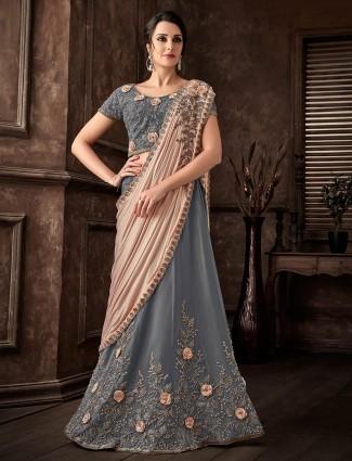 Grey lyca silk party wear lehenga cum saree