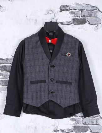 Grey navy terry rayon waistcoat set