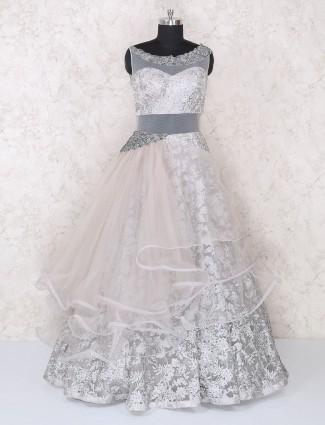 Grey net designer gown