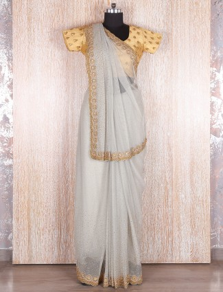 Grey net designer saree
