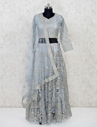 Grey net embroidery lehenga choli for festivals