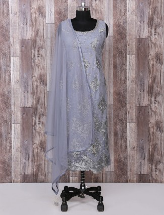 Grey net fabric palazzo suit for festive