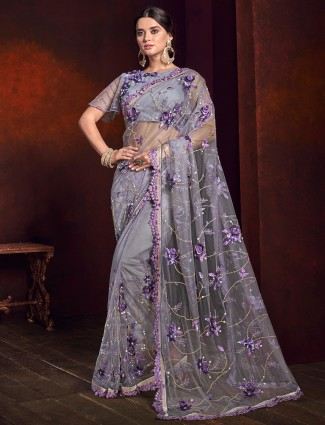 Grey net fabric saree for party function