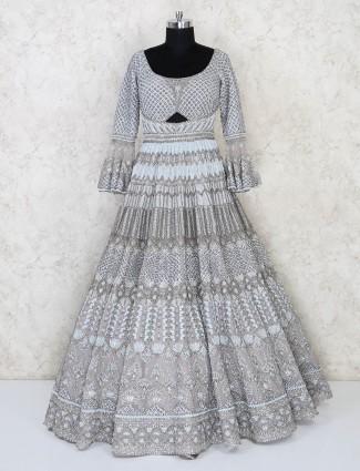 Grey net wedding wear designer gown