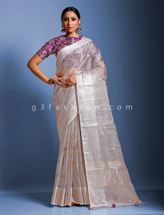 Grey organza tissue silk party function sari with ready made blouse
