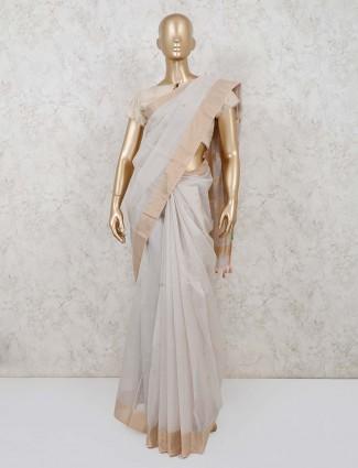 Grey organza tissue silk saree with readymade blouse