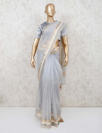 Grey organza tissue silk saree with readymade blouse for party