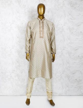 Grey party wear mens kurta suit