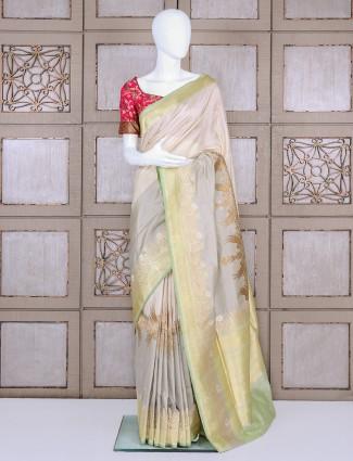 Grey party wear pure banarasi silk saree