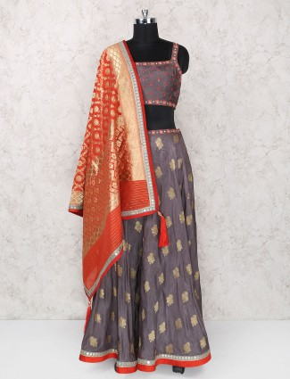 Grey party wear silk  fabric lehenga choli