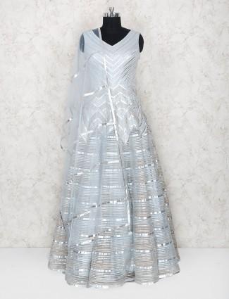 Grey party wear silk gown