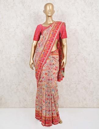 Grey pashmina patola silk for wedding