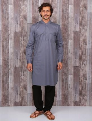 Grey plain cotton pathani suit