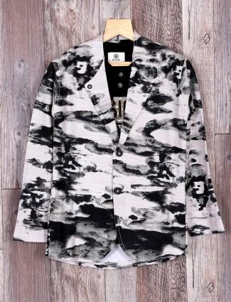 Grey printed blazer