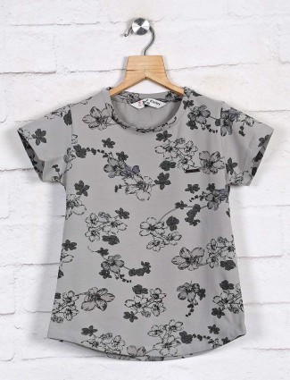 Grey printed casual girls top