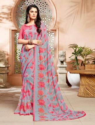 Grey printed chiffon festive wear saree