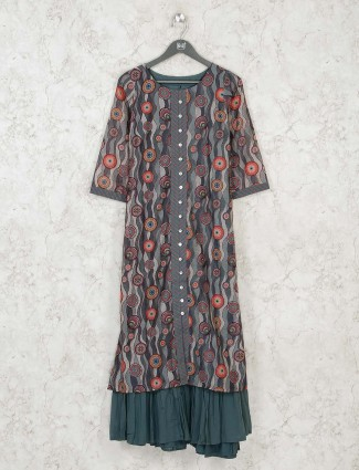 Grey printed cotton long kurti