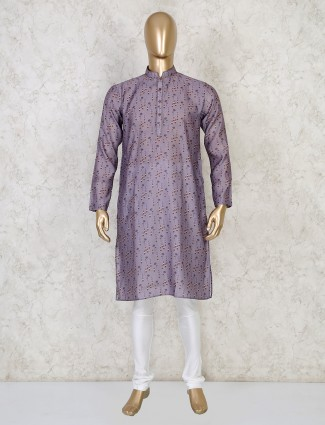 Grey printed cotton mens kurta suit