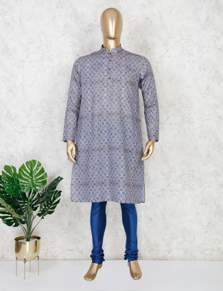 Grey printed cotton mens kurta suit for festival