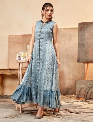 Grey printed cotton silk chinese neck kurti