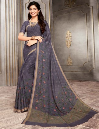 Grey printed crepe saree