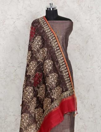Grey punjabi dress material in cotton