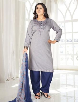 Grey punjabi salwar suit with thread work
