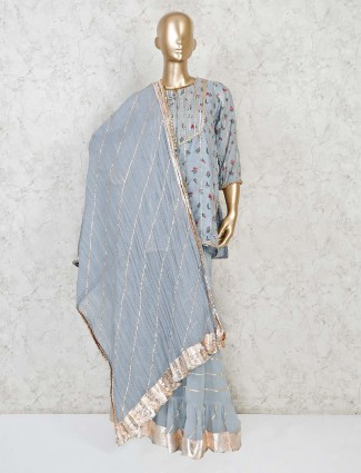 Grey punjabi sharara cotton sharara suit