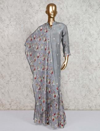 Grey punjabi sharara suit in cotton silk